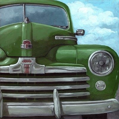 50's paintings | Classic 50's Ford - vintage car painting, original painting by artist ...