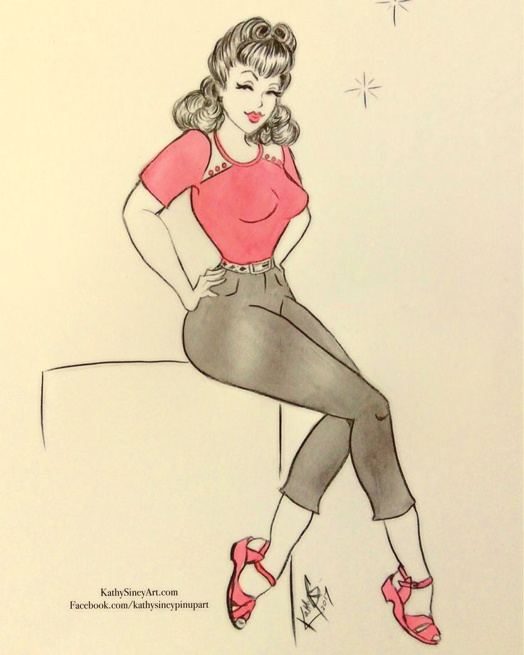 Vintage pin up girl wearing Rocket Originals clothing. Watercolour.