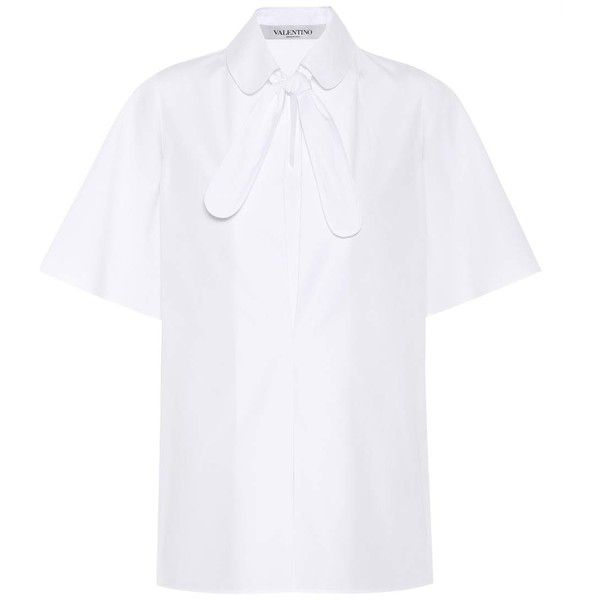 Valentino Cotton-Poplin Shirt ($820) via Polyvore featuring tops, white, white top, cotton poplin shirt, valentino shirt, shirt top and white shirt