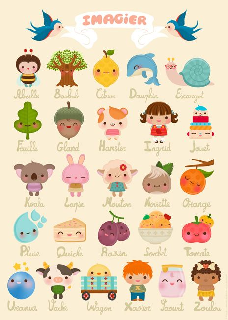 french!: Kawaii, Illustrations, Art, Alphabet Posters, Kids, Drawing, French Alphabet