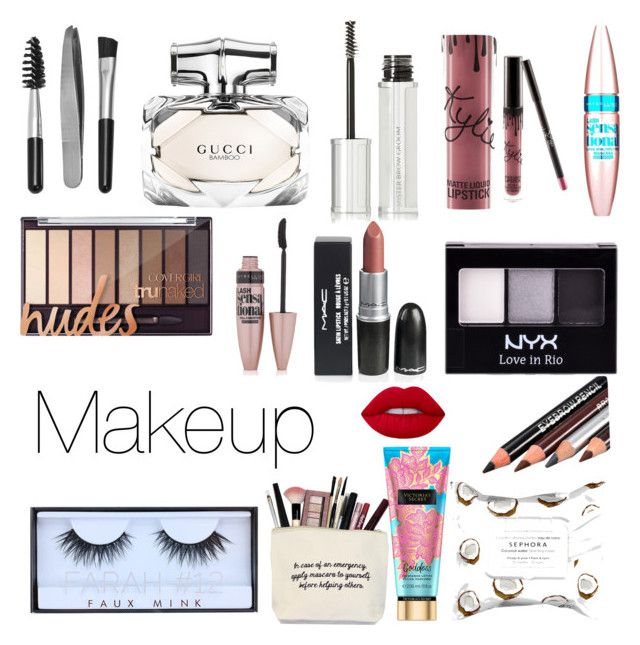 """""""Makeup"""" by juliette-soucy on Polyvore featuring beauté, Sephora Collection, Gucci, Givenchy, Kylie Cosmetics, Maybelline, NYX, Huda Beauty et Lime Crime"""