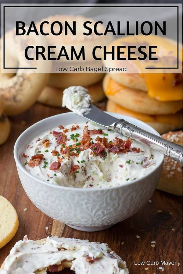 My version of the famous bacon scallion cream cheese spread I love from Brugger's Bagels. This easy recipe makes a great low carb vegetable dip, too!