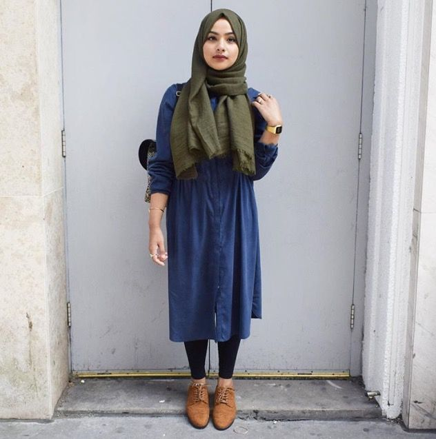 Pinterest: @eighthhorcruxx. Blue dress, green hijab, black leggings