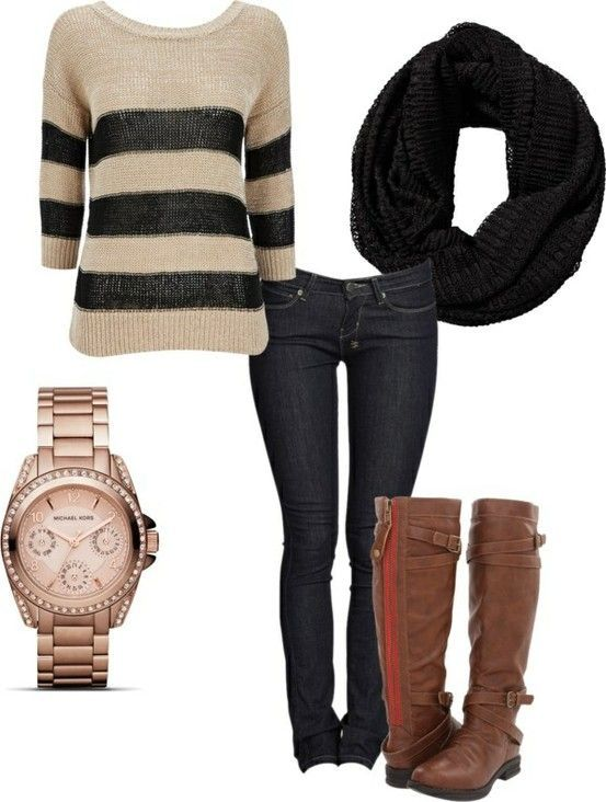 Fine knit striped sweater with dark skinnies, riding boots, and big knit scarf! Love the fall outfits!