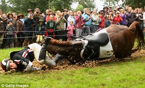 (Photo is by Getty Images)  Even top riders and top horses have accidents.  Zara Phillips, who competed for GB in the 2012 Olympics, has had several bad falls in her career.  A horrible 2008 fall resulted in her horse Tsunami II being euthanized and her being hospitalized.  Falls are terrible enough without adding TBI, paralysis, or death.    A horse or rider's training and experience doesn't make them immune.    #WhyIWearATroxel
