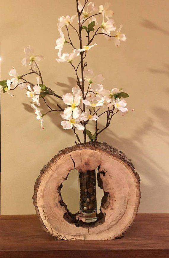 Wood Slice Bud Vase Holder Wood Slices Log Decor Vase Holder