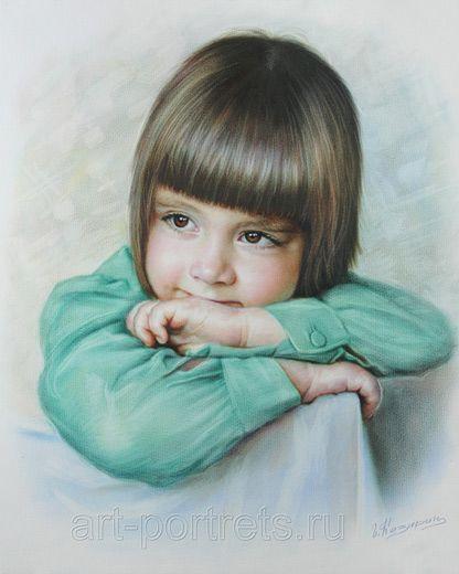 Igor Kazarin - Artiste Peintre Russe - Spécialisé dans les Portraits d'après Photo - Fillette songeuse