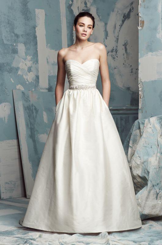 Silk Dupioni Wedding Dress Strapless Crossover Ruched