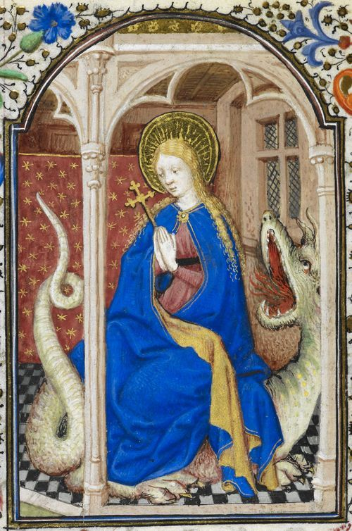 Detail of a miniature of St Margaret emerging from the fire-breathing dragon, from the Dunois Hours, France (Paris), c. 1339 – c. 1450, Yates Thompson MS 3, f. 282v Besides providing us with numerous dragon images St Margaret is the patron saint of pregnancy and expectant mothers