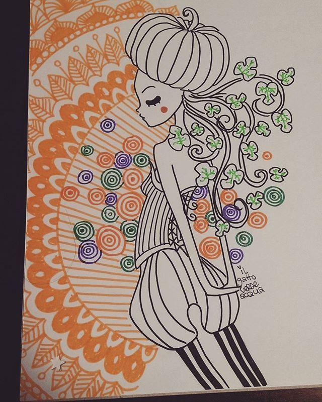 Buongiorno e buonvenerdì! Ieri era il primo giorno d'Autunno, quindi mi sento autorizzata a dire: è tempo di cominciare a pensare a zucche e pipistrelli, che in men che non si dica arriverà Halloween ❤  #buongiorno#buenosdias #goodmorning #autunno #zucca #garabatos #scarabocchi #doodles #zentangles #Halloween #samhain
