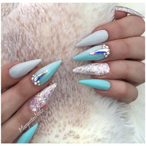 Blue And Grey Ombré Stiletto Nails by MargaritasNailz - Best 25+ Summer Stiletto Nails Ideas On Pinterest Sparkly Nails
