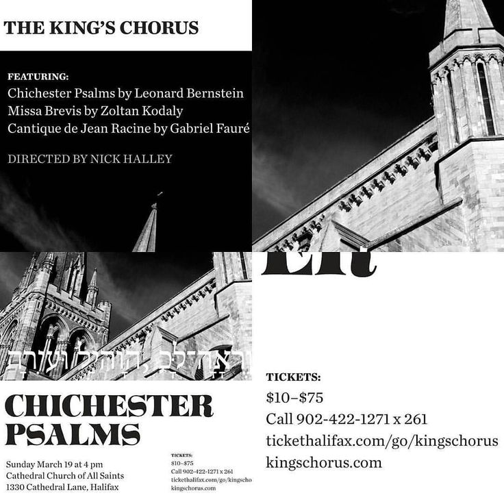 SUNDAY $10From @hali_mike  The King's Chorus presents Leonard Bernstein's (well known for his score of West Side Story) Chichester Psalms Fauré's Cantique de Jean Racine and Kodály's Missa Brevis on March 19 at 4:00 at the Cathedral Church of All Saints in Halifax. . The Chorus is a student-led choral group based at the University of King's College and Nick Halley is their director. It is comprised of over 50 students faculty staff and community members of King's and Dalhousie. . Buy tickets…