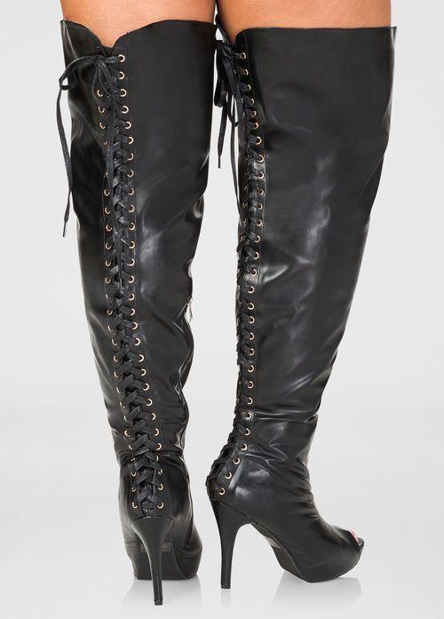 Womens Plus Size Lace-Up Over The Knee Boots Wide Calf Wide Width