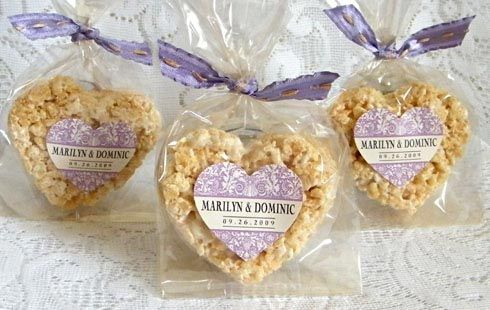 DIY Wedding favors using Rice Krispie Treats and Personalized Labels for under $1. — My Own Ideas
