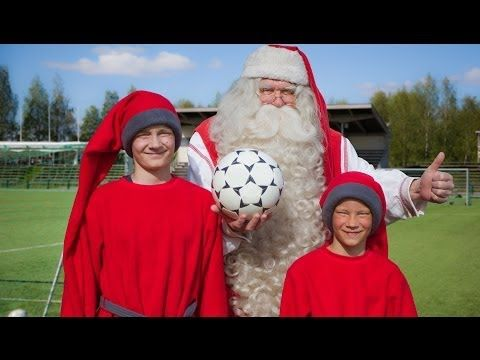 Football greetings of Santa Claus in Rovaniemi in Lapland Finland
