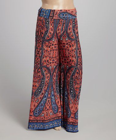 Love this Coral & Blue Paisley Palazzo Pants - Plus on #zulily! #zulilyfinds