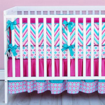Lila Pink and Turquoise Chevron Crib Bedding - Transitional - Baby Bedding - Caden Lane