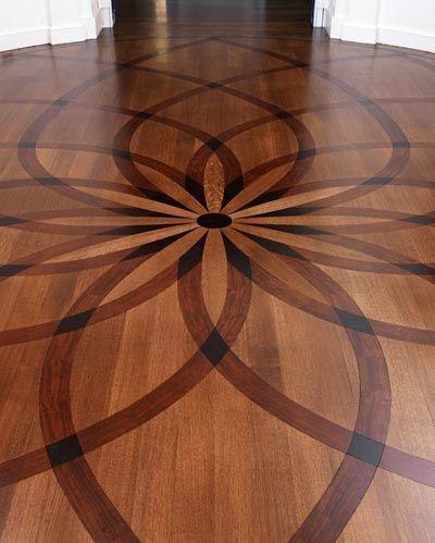 Wood floor faux inlay stencil wood stenciling greek for Inlaid wood floor designs