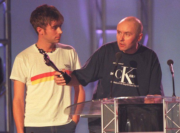 Damon Albarn of Blur and Irvine Welsh at the BRIT