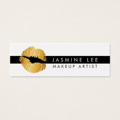 #makeupartist #businesscards - #lipstick minimalist modern makeup artist lips gold mini business card