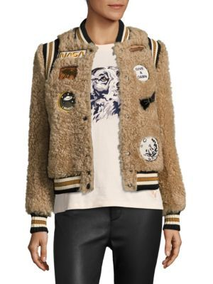 COACH 1941 Patch Shearling Varsity Jacket. #coach1941 #cloth #jacket