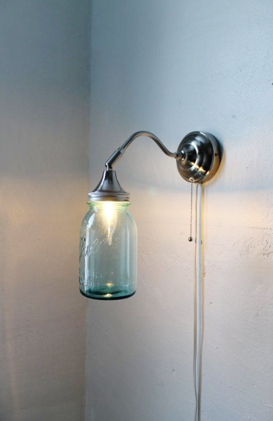 Antique AQUA - Industrial Stainless Steel Gooseneck Wall Sconce - Quart Sized Blue Ball Mason Jar Lamp - UpCycled BootsNGus Lighting Fixture. $60.00, via Etsy.