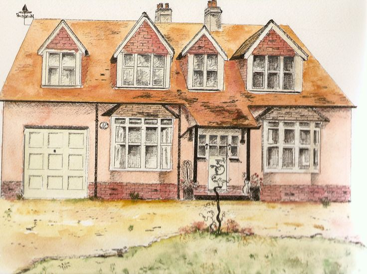 The Gables Pen and ink wash