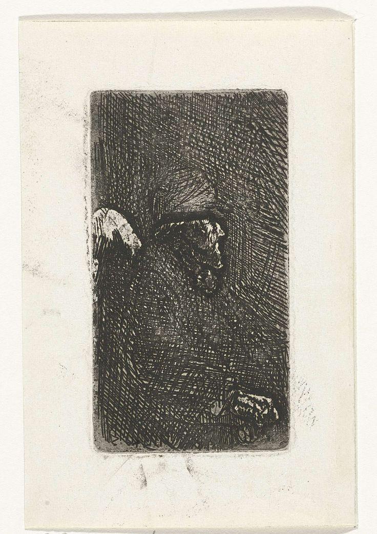 Jozef Israëls | Zittende oude man, Jozef Israëls, 1835 - 1911 | Buste van een zittende oude man met een pet op het hoofd, en profil naar rechts.