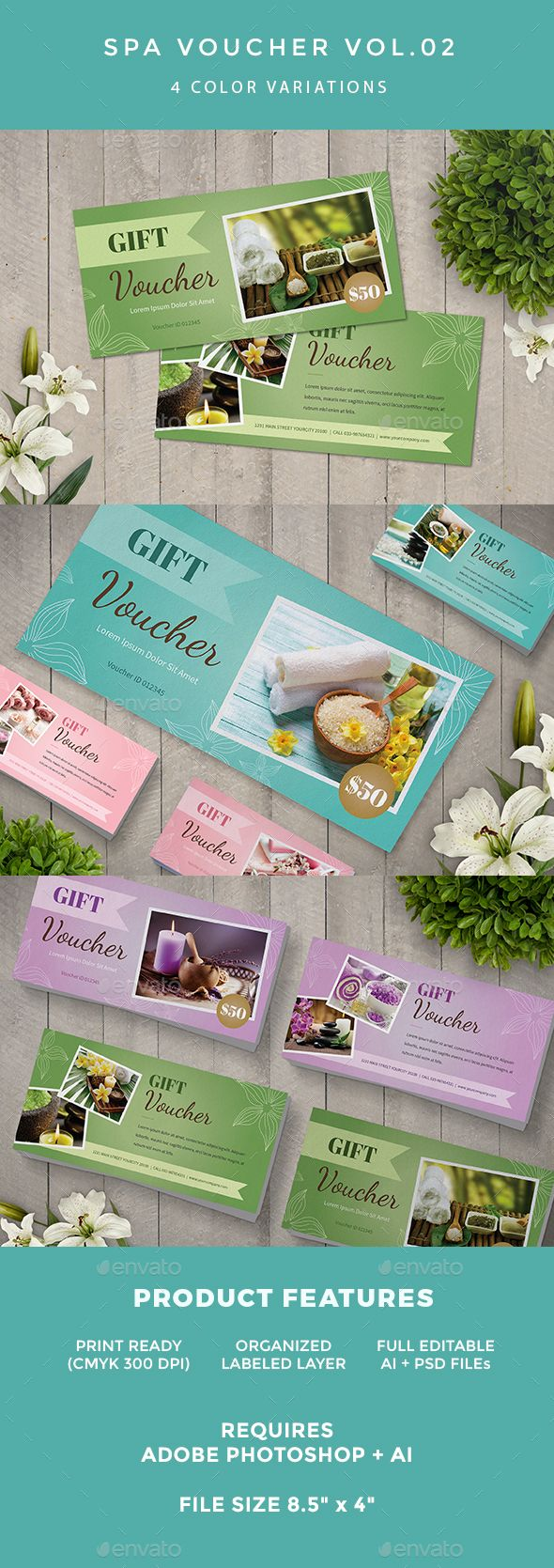 Spa Voucher by infinite78910 FeaturedAI   Psd Files 8.5鈥?20x 4鈥?20  Bleed CMYK 300 DPI Print Ready Well Organized Layer Full Editable Text Fonts Used Abril Fatfa
