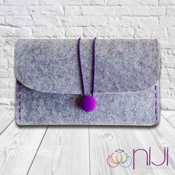 Felt Clutch Bag Hand Bag Grey & Purple by NIJICOLLECTION on Etsy, $21.00