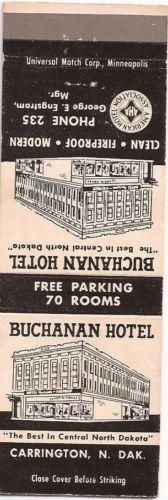 Buchanan Hotel Carrington Nd Inside Matchbook