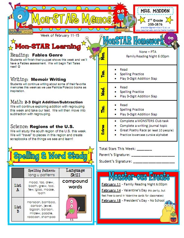 Classroom Newsletter Ideas ~ Best ideas about weekly classroom newsletter on