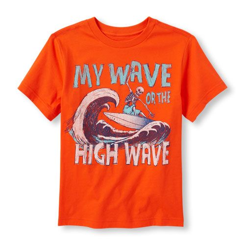s Boys Short Sleeve 'My Way Or The High Wave' Graphic Tee - Orange T-Shirt - The Children's Place