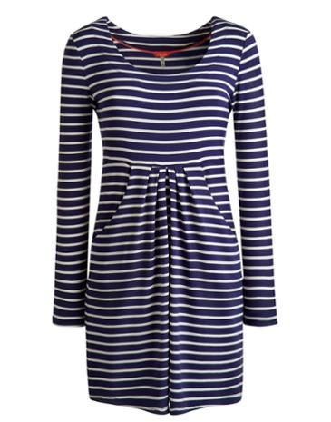 Joules Womens Tunic, Indigo Stripe.                     In a feminine shape, this tunic will flatter all season long. Crafted in soft, drapey fabric that will hang beautifully and feels as good as it looks. A perfect choice for both work and play.