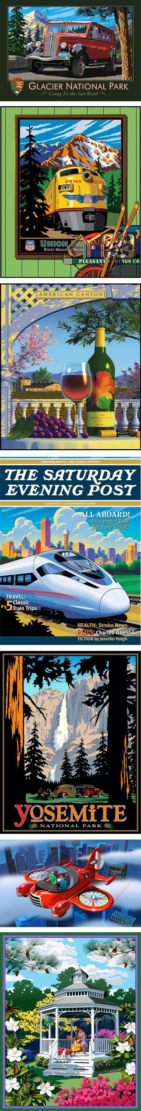 Glenn Gustafson retro-style travel posters