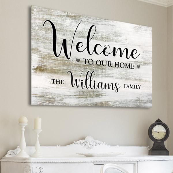 Personalized Welcome To Our Home Premium Canvas Photo Wall Decor Family Wall Art House Design Trends