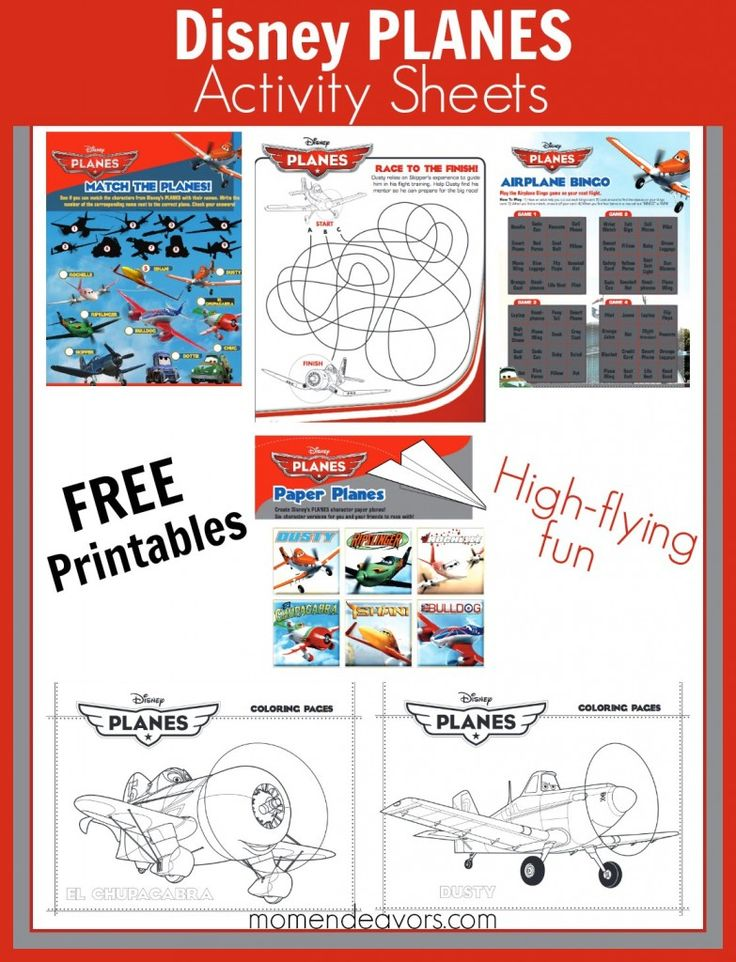 Disney Planes Free Activity Sheets