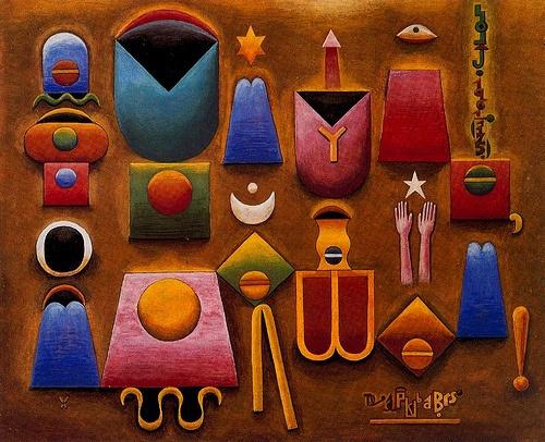 Solar, Xul (1887-1963) - 1961 Nel Hondo Mundo Mi Muy Pide o Mi Dios (Private Collection)