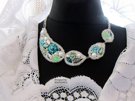 Mint Statement Bib Swarovski Diamond Bridal Bib Necklace Pearl
