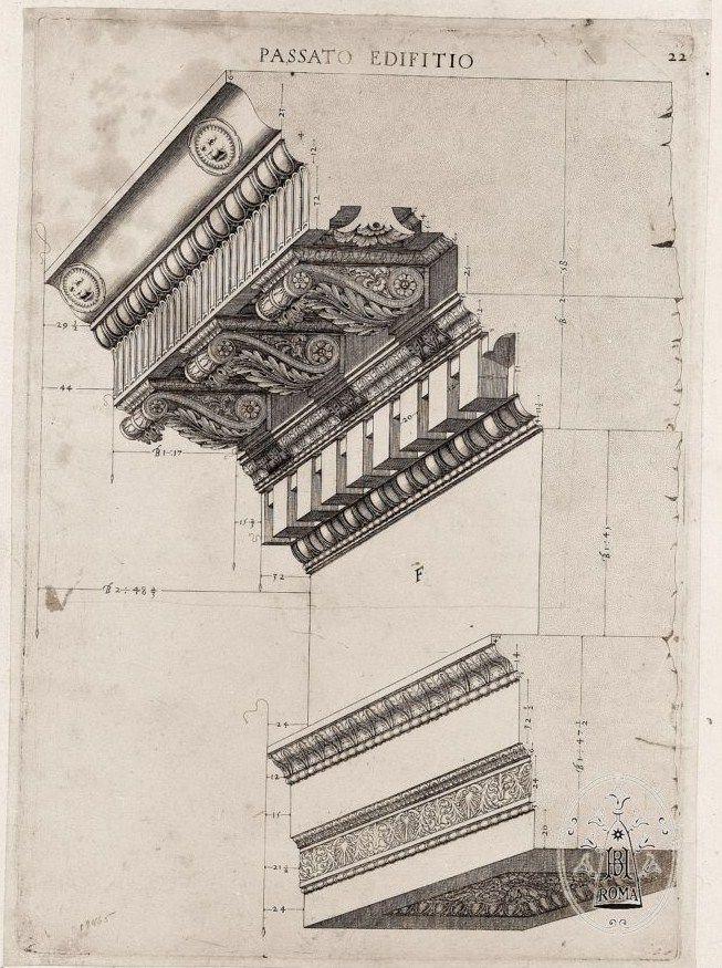Labacco, Antonio (1495 - 1567) - Architectural Entablature Drawing