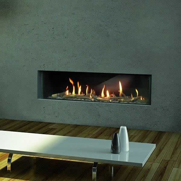 MODERNO - Widescreen flueless gas fire with 1pc Portuguese limestone fascia. other stone tyopes available.