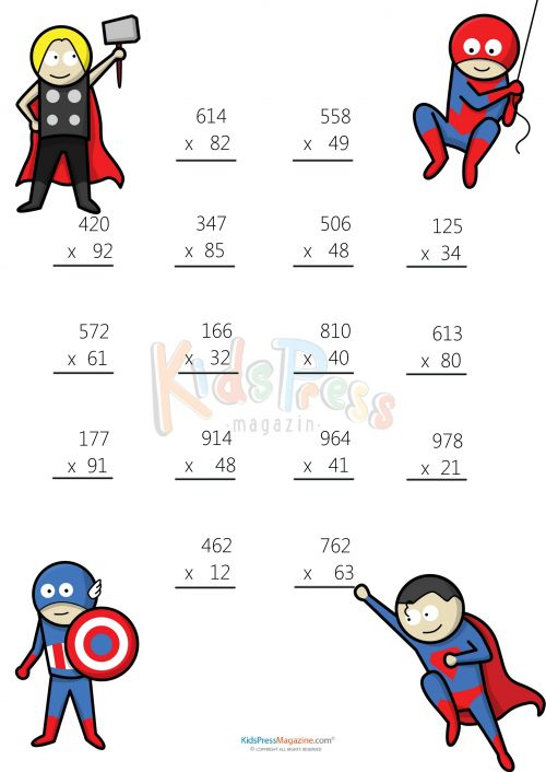 Fun multiplication printable worksheets grade 3