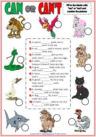 Can Or Can T Esl Worksheet With Animals Vocabulary For