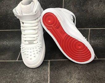 sports shoes 3e0bd e01f0 CUSTOM Nike x Louboutin Style   Air Force One   AF1   Red Bottom   Nike Air    Air Force 1 High   AF1 Low   AF1 Mid