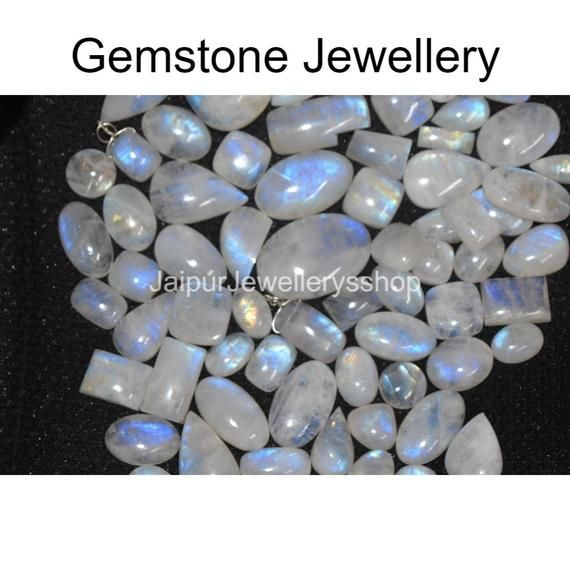 AAA Quality Blue Flashy Gemstone White Rainbow Moonstone Cabochon lot for silver jewelry Stone White Rainbow Moonstone Cabochon Lot