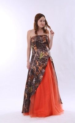 Colorful Strapless Split Front Orange and Camo Wedding Dress