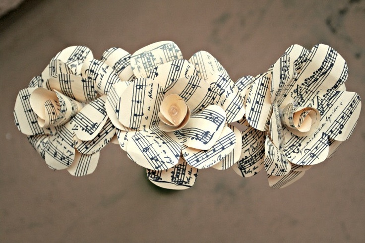 Set of Three Handmade Sheet Music Pattern Paper Roses Wedding Decoration - Wedding Favor. $13.50, via Etsy.