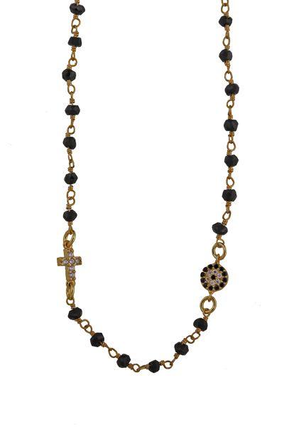 Χειροποίητο κολιέ από επιχρυσωμένο ασήμι 925ο με link chain με μαύρα σπινέλια και ψιλή αλυσίδα. Το κολιέ διακοσμούν ένας ασημένιος σταυρός 5x10 mm με λευκά ζιργκόν και ένα μάτι στόχος με ζιργκόν 5mm @ http://www.theodorajewellery.com/jewel/gr/2065/ Τιμή 39€  Handmade necklace made of gold plated silver 925o with link chain spinel, thin chain, cross 5x10mm and target eye pendant 5mm @ http://www.theodorajewellery.com/jewel/en/2065/ Necklace length: 45cm+3cm silver chain extension. Price 39€