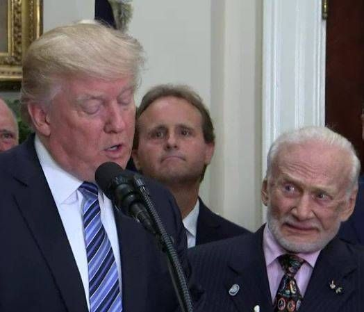 Buzz Aldrin has suprised many today by saying that his greatest achievement is not punching Donald Trum