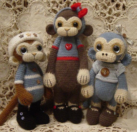RESERVED OOAK Crocheted Monkey art Doll